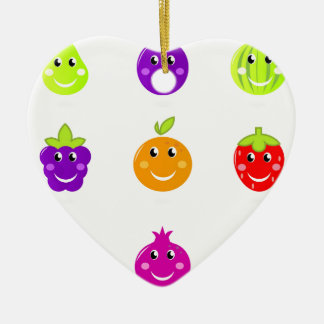 Fantastische Hand gezeichnete Frucht-Sammlung Keramik Herz-Ornament