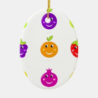 Fantastische Hand gezeichnete Frucht-Sammlung Ovales Keramik Ornament