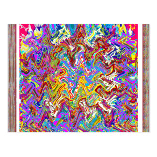 Fantastische Wellen-bunte abstrakte Kunst Postkarte