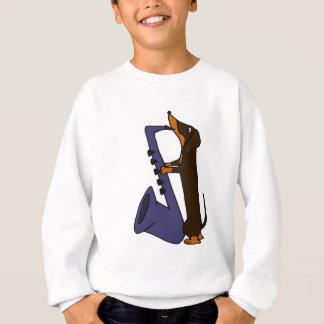 Fantastischer Dackel-Hund, der Saxophone spielt Sweatshirt