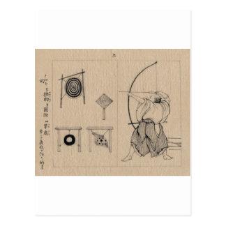 Fantastischer Japaner Bogenschütze, der circa 1878 Postkarte