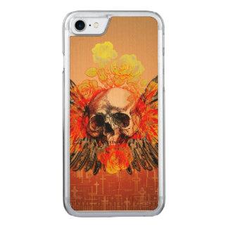Fantastischer Schädel mit wunderbaren Rosen Carved iPhone 8/7 Hülle