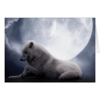 Fantastischer Wolf und Mond-weißer Wolf Karte