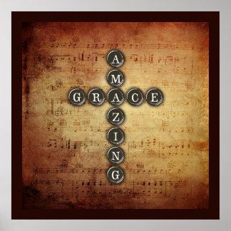 Fantastisches Anmut-Kreuz auf Vintagem Musik-Blatt Poster