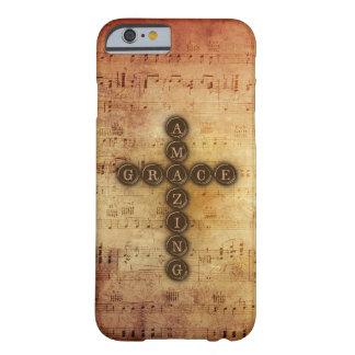 Fantastisches Anmut-Kreuz auf Vintager Blatt-Musik Barely There iPhone 6 Hülle