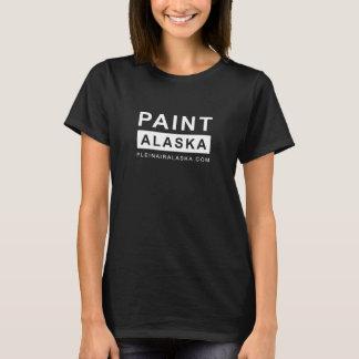 FARBE ALASKA - Damen-schwarzes Malerei-Shirt T-Shirt