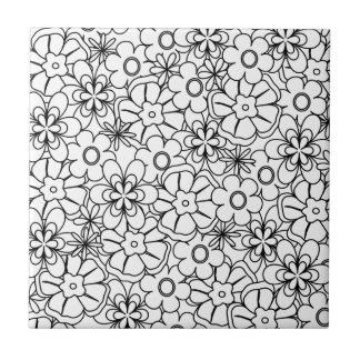 Farbe-Ich Funky Hippy Retro Blume gemustert Kleine Quadratische Fliese