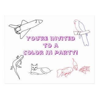 Farbe in den Geburtstags-Party Einladungen, Postkarte
