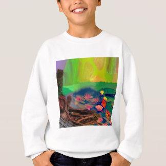 Farben dringen den Himmel, die Lilien bedecken den Sweatshirt