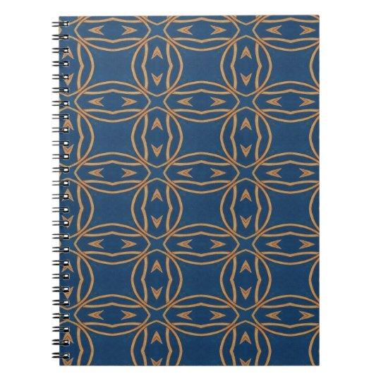 Färben Sie abstraktes Muster-blauen Spiral Notizblock