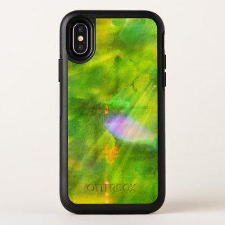 färben Sie das nahtlose Hintergrundgrün, gelb OtterBox Symmetry iPhone X Hülle