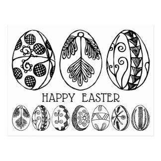 Färben Sie Ihr eigenes Hand gezeichnetes Ostern Postkarte
