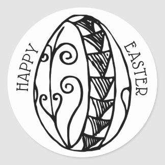 Färben Sie Ihr eigenes Hand gezeichnetes Ostern Runder Aufkleber