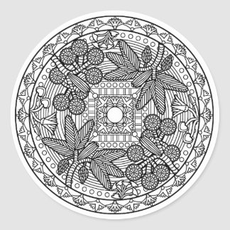 Färben Sie Ihren eigenen Malbuch-Entwurf Runder Aufkleber