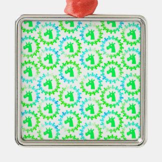 Färben Sie mich grünes Einhorn Silbernes Ornament