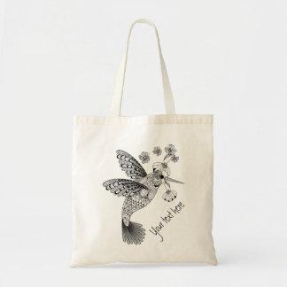 Färben Sie mich Kolibri Blumen-DIY Budget Stoffbeutel