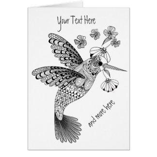 Färben Sie mich Kolibri Blumen-DIY Grußkarte