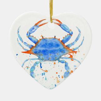 Farben-Spritzer der blauen Krabbe des Watercolor Keramik Herz-Ornament
