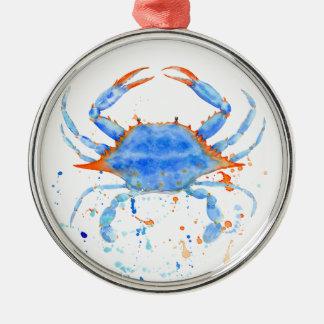 Farben-Spritzer der blauen Krabbe des Watercolor Rundes Silberfarbenes Ornament