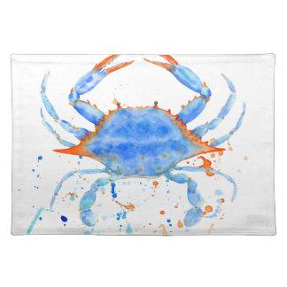 Farben-Spritzer der blauen Krabbe des Watercolor Stofftischset