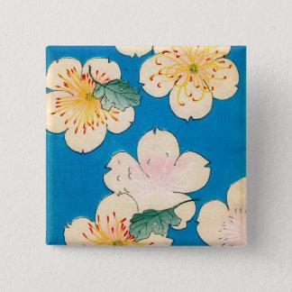 FarbeWoodblock Druck der Hartriegel-Blüten Quadratischer Button 5,1 Cm