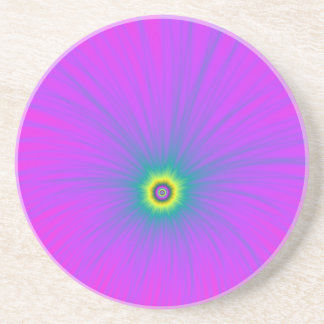 Farbexplosion im Blau auf rosa Untersetzer