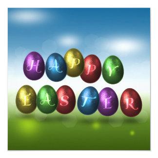 Farbige Eier - Ostern-Brunch-Einladung Quadratische 13,3 Cm Einladungskarte