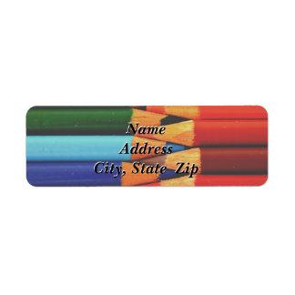 Farbiger Bleistift-Rücksendeadresse-Aufkleber