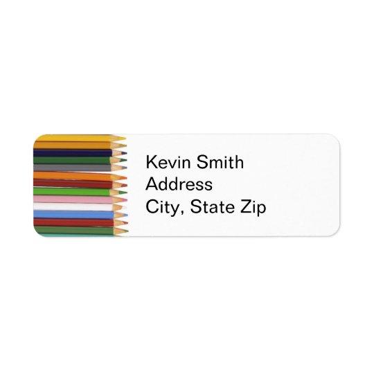 Farbiger Bleistift-Rücksendeadressen-Aufkleber Rückversand-Adressaufkleber