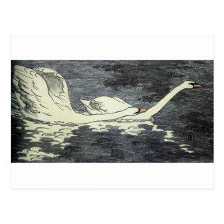 Farbiger Holzschnitt Zwei Schwäne durch Otto Postkarte