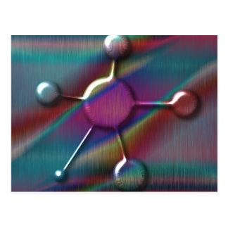 Farbiges Metall mit Gel-Molekül Postkarte