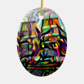 Farbschiff Ovales Keramik Ornament