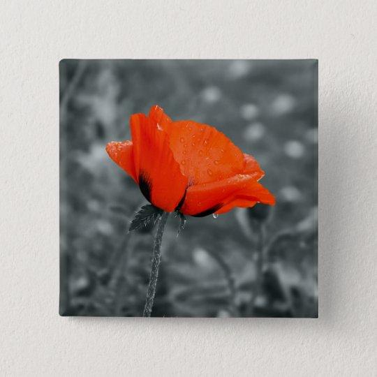 Farbschlüssel Mohnblumen-Knopf Quadratischer Button 5,1 Cm