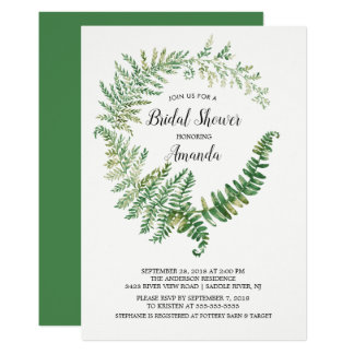 Farn-Blatt-Brautparty-Einladung Karte