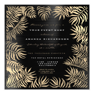 Farn treibt gerahmtes Sepia-Goldmetallisches Karte