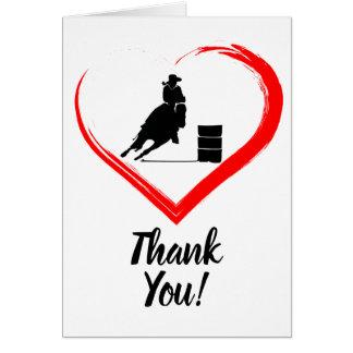 Fass-laufendes Pferd und rotes Herz danken Ihnen Karte