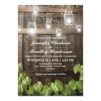 Fass-Rebe der Land-rustikale Hochzeits-| 12,7 X 17,8 Cm Einladungskarte