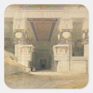 Fassade des Tempels von Hathor Quadratischer Aufkleber