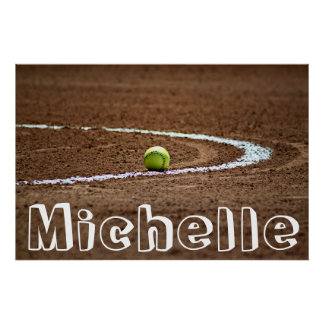 Fastpitch Softball-Spieler-Name-/Text-Plakat Poster