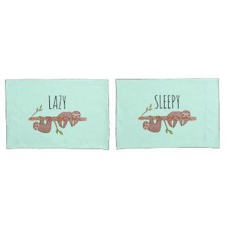 Fauler u. schläfriger niedlicher Sloth-Entwurf, Kissenbezug