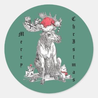 Faune lunatique d'orignaux de Noël Sticker Rond