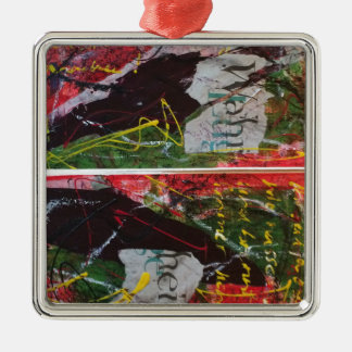 Faust 2 quadratisches silberfarbenes ornament