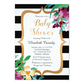 Faux Foil Watercolor Floral Baby Shower Invitation Karte