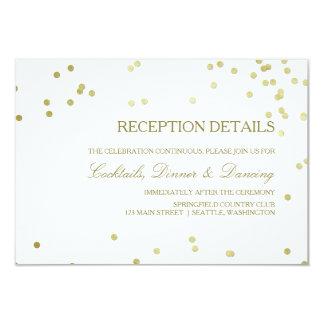 Faux Gold Foil Confetti Wedding Reception Details Karte