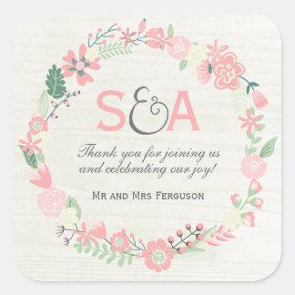 Faveurs florales lunatiques de Merci Sticker Carré