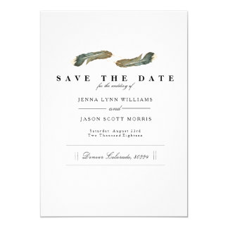 Feder-DuoWatercolor   elegant Save the Date Karte