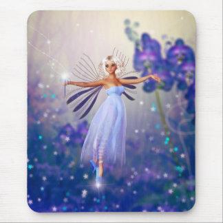 Fée bleue de fleur tapis de souris