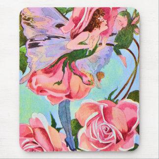 Fée de fleur de l'illustration de cru de roses tapis de souris