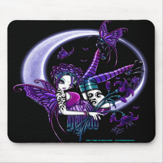 Fée foncée Mousepad de lune de fleur d'arc-en-ciel Tapis De Souris