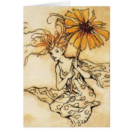 Fee mit Blumen-Gruß-Karte Grußkarte